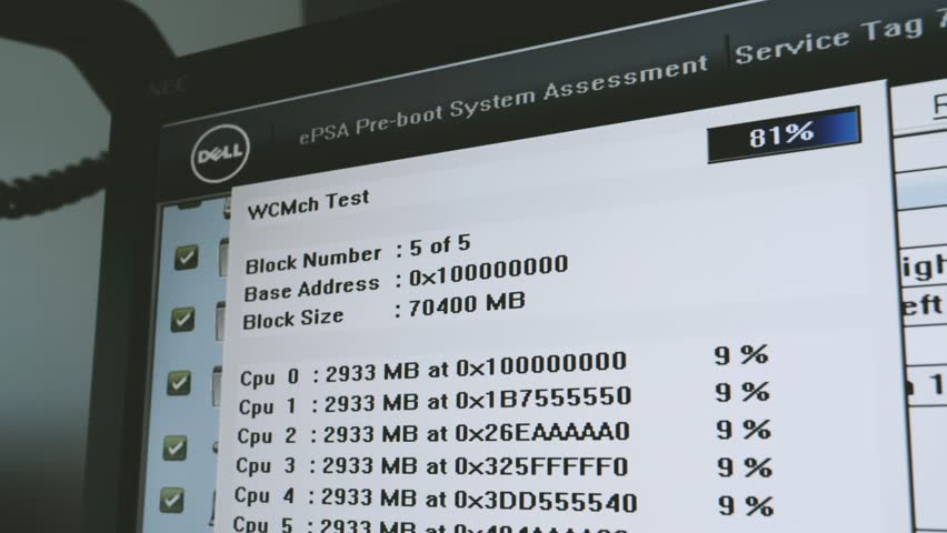 DELL Pre-boot System Assessment – Video memory integrity test